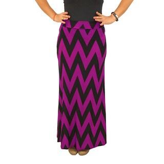 Fold over Waist Full Length Black/ Pink Chevron Maxi Skirt