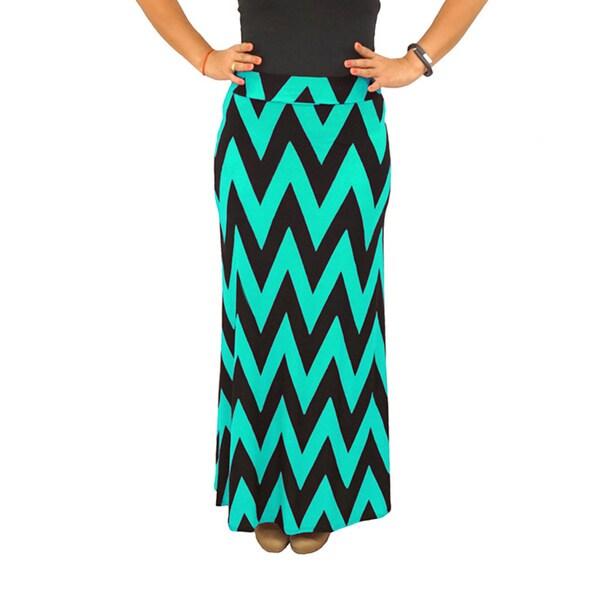 Fold over Waist Full Length Black Mint Chevron Maxi Skirt