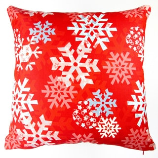 Artisan Pillows 17-inch Christmas Snowflakes Red Indoor Holiday Throw Pillow