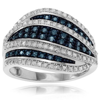 Journee Collection Sterling Silver 1 1/6 ct Blue and White Diamond Wave Ring