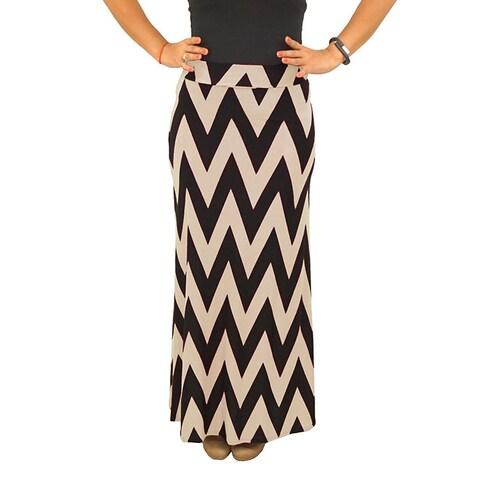 Fold over Waist Full Length Black Beige Chevron Maxi Skirt
