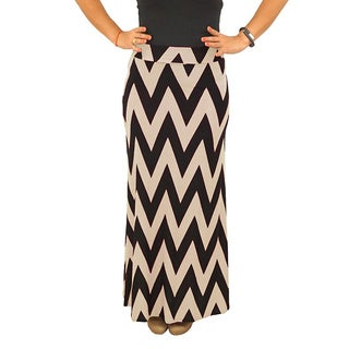 Fold over Waist Full Length Black Beige Chevron Maxi Skirt (4 options available)