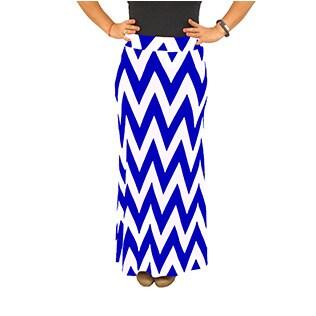 Fold over Waist Full Length Blue White Chevron Maxi Skirt