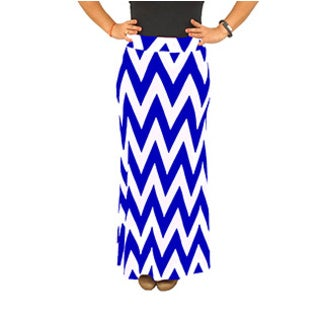 Fold over Waist Full Length Blue White Chevron Maxi Skirt (4 options available)
