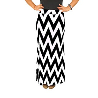 Fold over Waist Full Length Black White Chevron Maxi Skirt (4 options available)