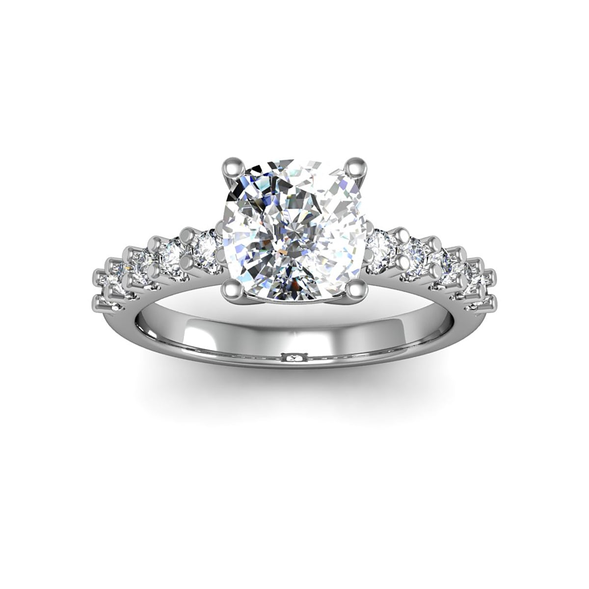 14k White Gold 2 3/10ct. Diamond Engagement Ring with 2ct...