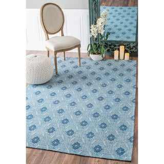 nuLOOM Intricate Florette Trellis Cotton/ Polyester Blue Rug (7'6 x 9'6)