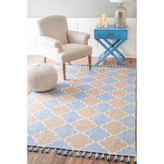nuLOOM Flatweave Modern Castle Trellis Cotton Tassel Blue Rug (8' x 10')