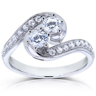 Annello by Kobelli Two Collection 14k White Gold 1ct TDW Diamond 2-stone Swirl Ring