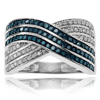 Journee Collection Sterling Silver 1 1/8 ct Diamond Crossover Ring