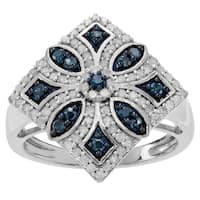 Journee Collection Sterling Silver 7/8 ct Blue and White Diamond Ring