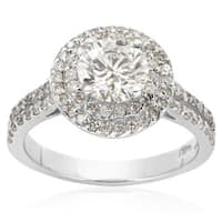 14k White Gold 2 1/2ct. Halo Engagement Ring with 1 1/2ct. Round Brilliant Clarity Enhanced Center D - White H-I