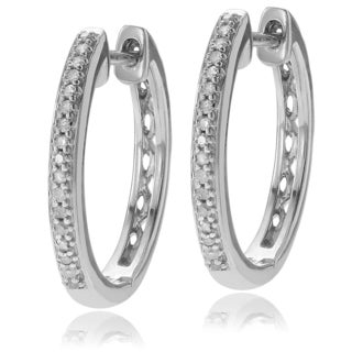 Journee Collection Sterling Silver 1/3 CT Diamond Hoop Earrings