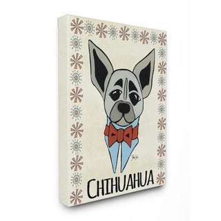 Stupell Whimsical Chihuahua Wearing Bow Tie 16-inch x 20-inch Canvas