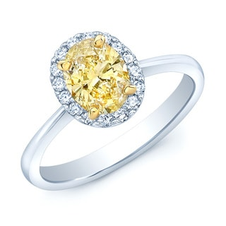 14k Two-tone 1/6ct TDW Yellow Diamond Engagement Ring (H-I, SI1-SI2)