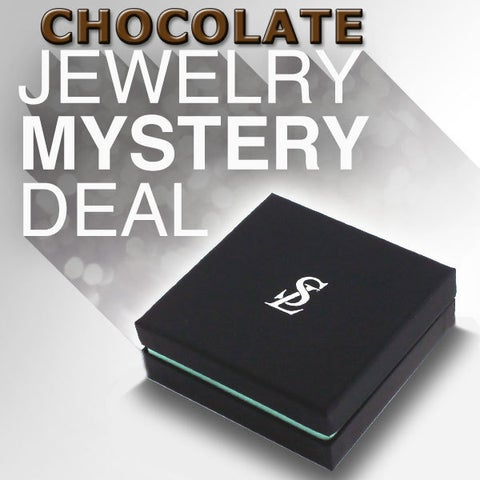 Suzy Levian 3 Piece Sterling Silver Chocolate Cubic Zirconia Mystery Ring, Earring and Necklace - White
