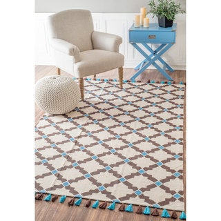 nuLOOM Flatweave Diamond Jewel Trellis Cotton Tassel Brown Rug (8' x 10')