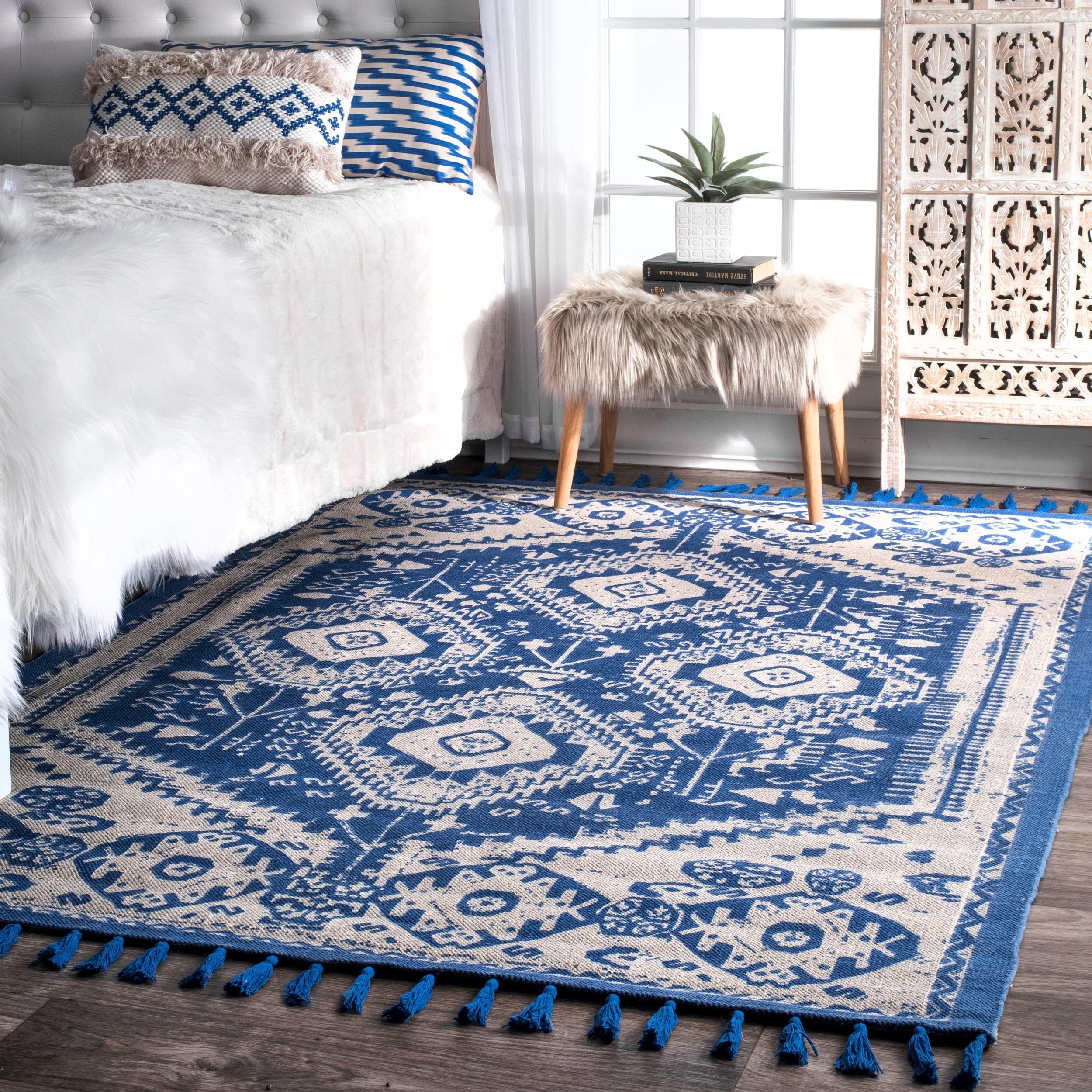 nuLOOM Flatweave Tribal Diamond Dragon Cotton Tassel Blue Rug (5' x 7')