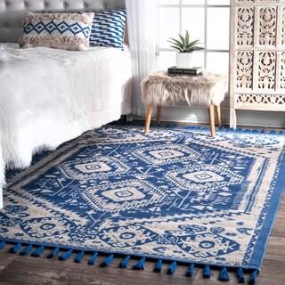 nuLOOM Flatweave Tribal Diamond Dragon Cotton Tassel Blue Rug (8' x 10')