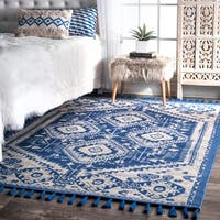 The Curated Nomad Santiago Dragon Cotton Blue Tassel Area Rug (8' x 10')