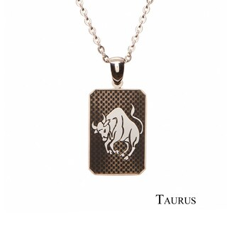 James Cavolini Zodiac Stainless Steel Dog Tag Pendant Necklace (More options available)