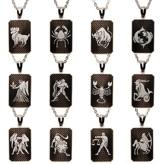 James Cavolini Zodiac Stainless Steel Dog Tag Pendant Necklace