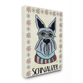 Stupell Whimsical Schnauzer Wearing Sweater 16-inch x 20-inch Canvas