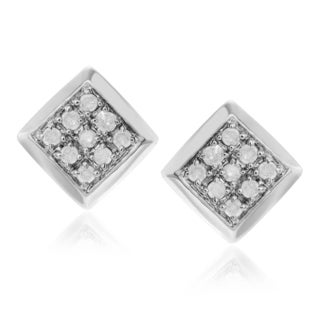 Journee Collection Sterling Silver 1/5 ct Diamond Square Stud Earrings