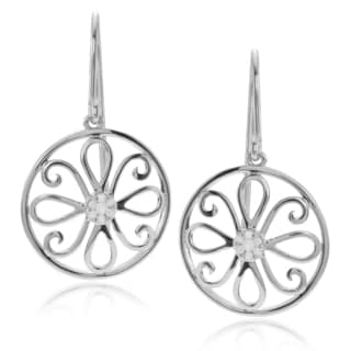 Journee Collection Sterling Silver 1/5 ct Diamond Floral Dangle Earrings
