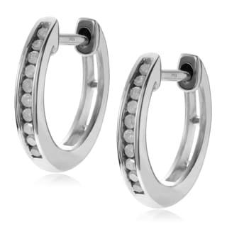 Journee Collection Sterling Silver 1/5 ct Diamond Hoop Earrings (12mm)