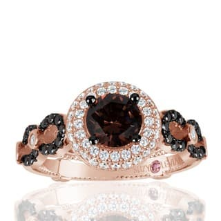 Suzy Levian Bridal Sterling Silver Brown and White Cubic Zirconia Engagement Ring|https://ak1.ostkcdn.com/images/products/10836617/P17878789.jpg?impolicy=medium