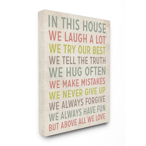 Stupell In This House We' Inspirational Art 16-inch x 20-inch Canvas