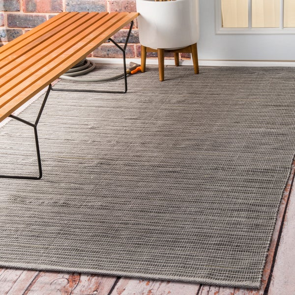 Checked Black Grey Rug: NuLOOM Flatweave Checkered Indoor/ Outdoor Patio Grey Area