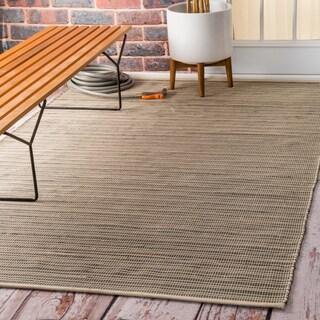 nuLOOM Flatweave Checkered Indoor/ Outdoor Patio Beige Area Rug (5' x 8')