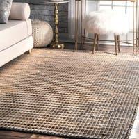"nuLOOM Handmade Natural Fiber Flatweave Ombre Jute Grey Rug (7'6 x 9'6) - 7'6"" x 9'6"""