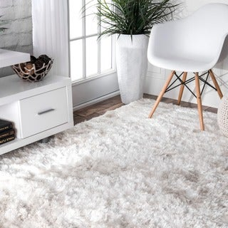 nuLOOM Handmade Sof and Plush Silken Solid Shag White Rug (8'6 x 11'6)