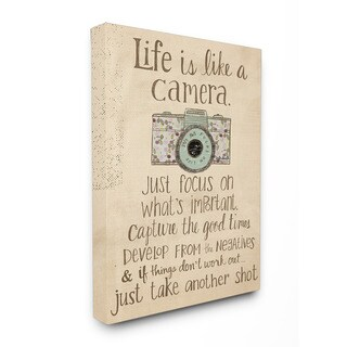 Stupell Life is Like a Camera Inspirational Art 16-inch x 20-inch Canvas