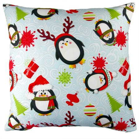 Artisan Pillows 17-inch Christmas Penguins Indoor Holiday Throw Pillow