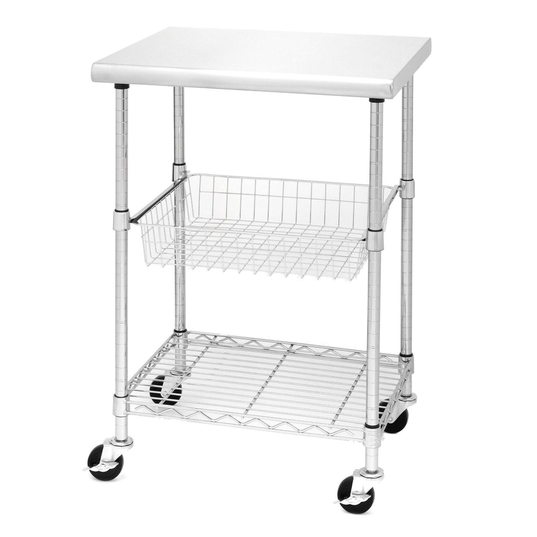 Porch & Den Chesterfield Allerton Stainless Steel Kitchen Work Table Cart