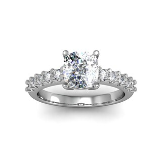 1.80ct Clarity Enhanced Diamond Engagement Ring Cushion Cut Solitaire In 14 Karat White Gold (H-I, I