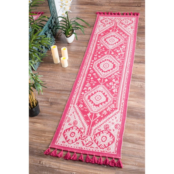 Charming NuLOOM Flatweave Tribal Diamond Dragon Cotton Tassel Pink Runner Rug (2u00276  ...