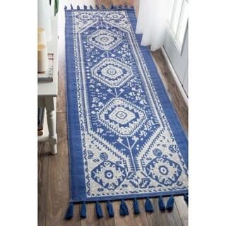 nuLOOM Flatweave Tribal Diamond Dragon Cotton Tassel Blue Runner Rug (2'6 x 8')
