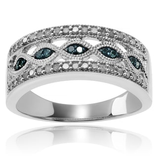 Journee Collection Sterling Silver 1/2 CT TDW Blue and White Diamond Band