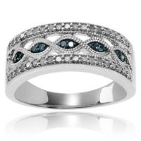 Sterling Silver 1/2 CT TDW Blue and White Diamond Wedding Ring (Blue)