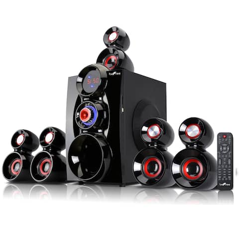 beFree Sound Red 5.1 Channel Surround Sound Bluetooth Speaker System-