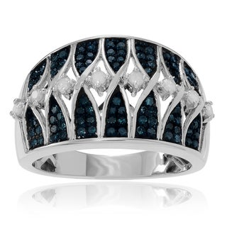 Journee Collection Sterling Silver 1 ct Blue and White Diamond Wide Band