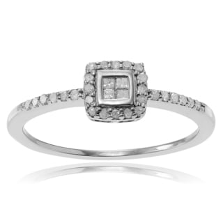 Journee Collection Sterling Silver 1/3 ct Diamond Halo Engagement Ring