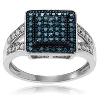 Journee Collection Sterling Silver Blue and White 3/4 ct Diamond Square Ring