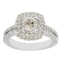 14k White Gold 1 1/2ct Halo Engagement Ring with 3/4ct Cushion-cut Clarity Enhanced Center Diamond - White H-I