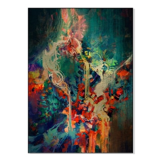 Gallery Direct abstract colorful painting,melted coloring elements Print on Mounted Metal Wall Art